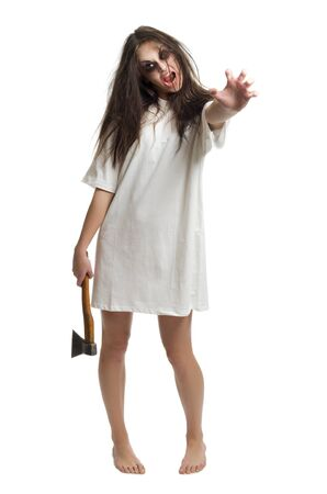 young girl barefoot: Zombie girl with axe isolated