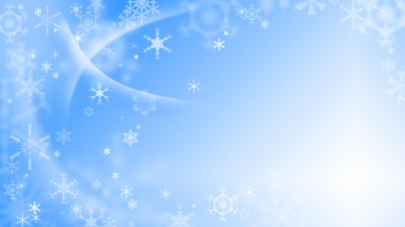 Blue christmas background with white snowflakes Stock Photo