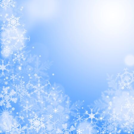 Blue winter wallaper with snowflakes photo