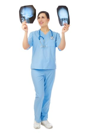 Young doctor with x-rays isolated Stock Photo - 17390913