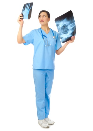 Young doctor with x-rays isolated photo