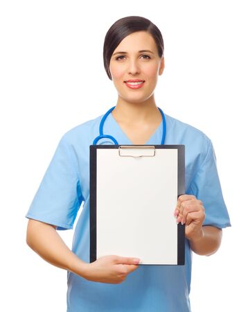 Young doctor with clipboard isolated photo