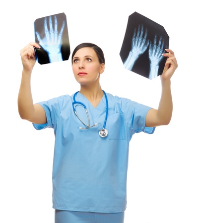 Young doctor with x-ray isolated photo