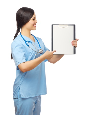 Smiling doctor with clipboard isolated photo