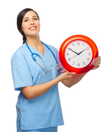 Doctor with clock isolated on white Stock Photo - 18314950