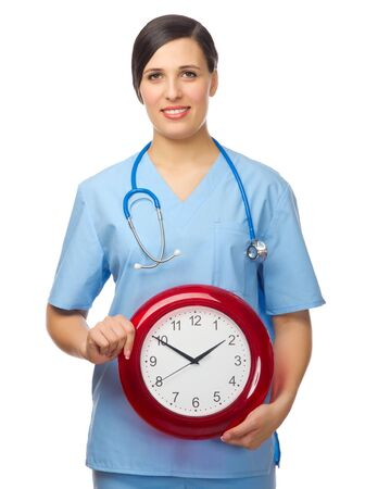 Doctor with clock isolated on white Stock Photo - 19028645