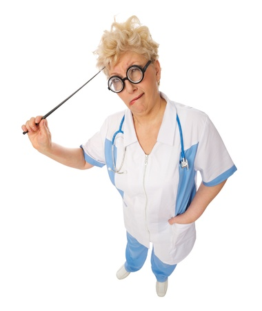 Funny mature doctor with pointer isolated photo