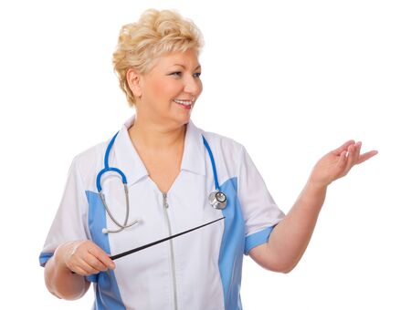 Mature doctor with pointer isolated photo