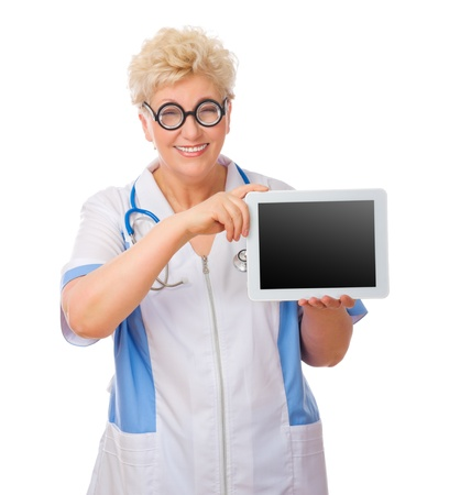 funny doctor: Mature funny doctor with tablet PC isolated