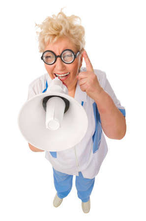 funny doctor: Mature funny doctor with megaphone isolated Stock Photo