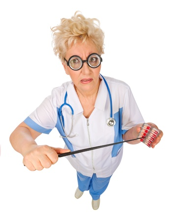 Mature funny doctor with pills and pointer isolated photo