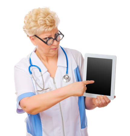 Mature funny doctor with tablet PC isolated photo