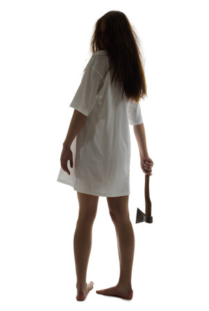 dead woman: Zombie girl with axe isolated on white Stock Photo