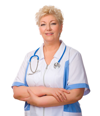 Mature doctor with stethoscope isolated photo