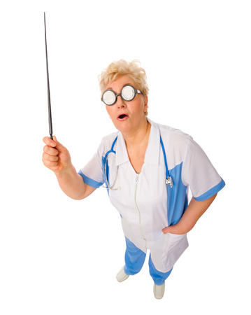 Mature funny doctor with pointer stick isolated photo
