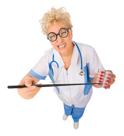 Mature funny doctor with pointer stick and pills isolated photo