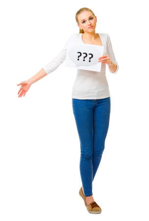 Young girl with question placard isolated photo