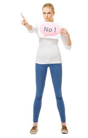 Young girl with No banner isolated Stock Photo