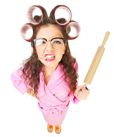 casalinga: Casalinga divertente in occhiali nerd isolato Archivio Fotografico