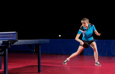 Young girl table tennis player (isolated ver) Stock Photo