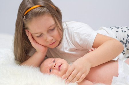 boy  naked: Little baby with her sister