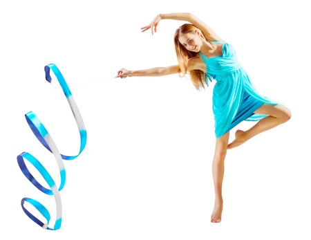 gym dress: Young girl is engaged in art gymnastics isolated Stock Photo
