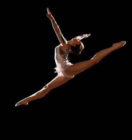 gymnastics silhouette: Girl engaged art gymnastics isolated