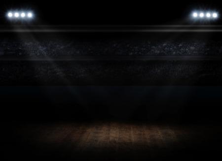 스포트 라이트가있는 스포츠 홀 인테리어 스톡 콘텐츠