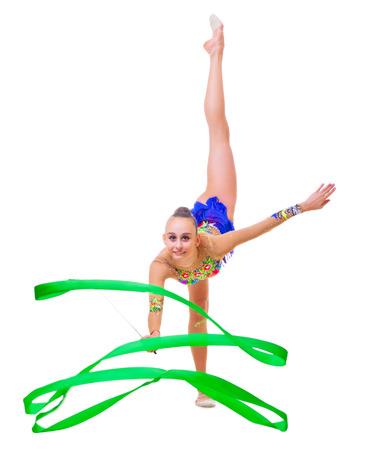 gimnasia: Chica dedica aislado arte gimn�stica