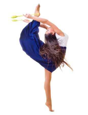 Young girl engaged art gymnastic isolated photo