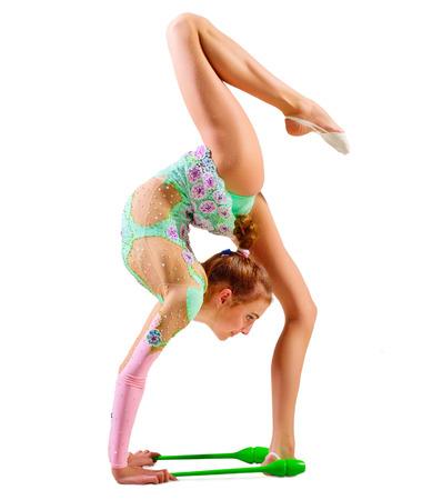 gymnastique: Jeune fille art engag� gymnastique isol�