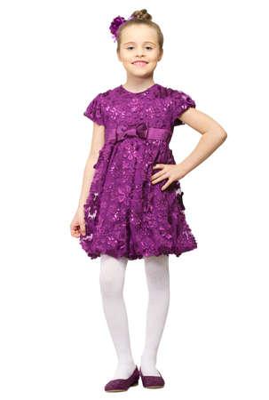 purple dress: Little girl in purple dress isolated