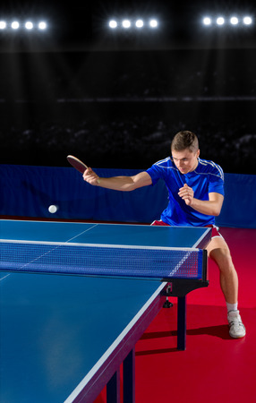 tennis player: Young table tennis player at sports hall Stock Photo