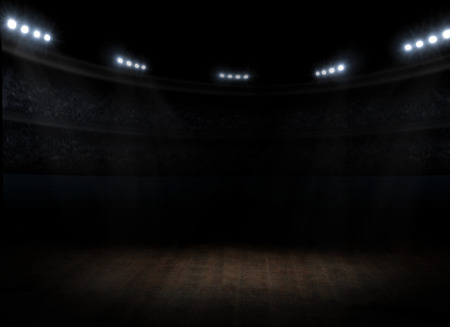 oscuro: Sports hall interior con focos