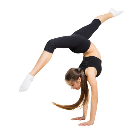 gymnastics sports: Young girl modern dancer isolated