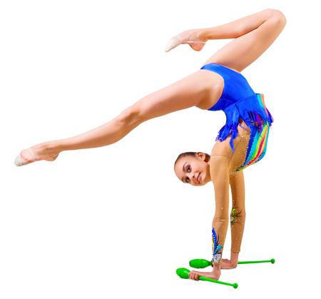 gymnastik: Junges Mädchen, das engagierte Kunst Gymnastik isoliert