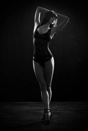 nude young woman: Low key portrait of girl in underwear