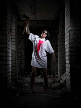 dirty girl: Zombie girl in old house Stock Photo