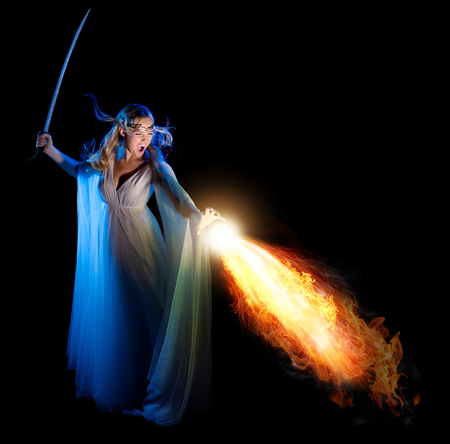 warrior sword: Elven girl with sword isolated Stock Photo