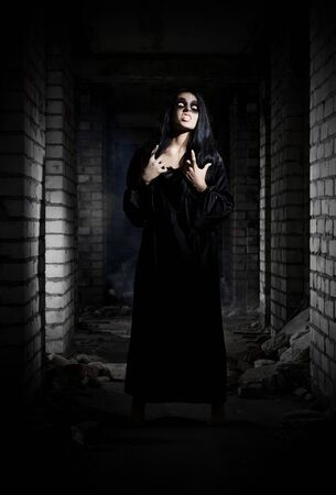 dead woman: Zombie girl in old house Stock Photo