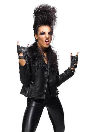 Rock musician in leather clothing isolated Stock Photo