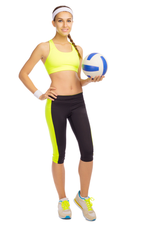 female volleyball: Sporty girl with ball isolated Stock Photo
