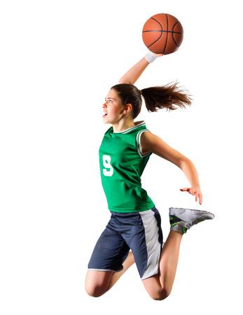 action girl: Young girl basketball player isolated
