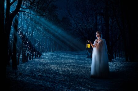 Young elven girl with lantern in night forest Stock Photo