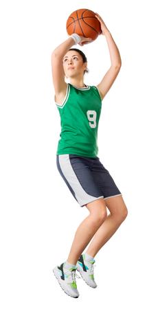 basketball shot: Young girl basketball player isolated