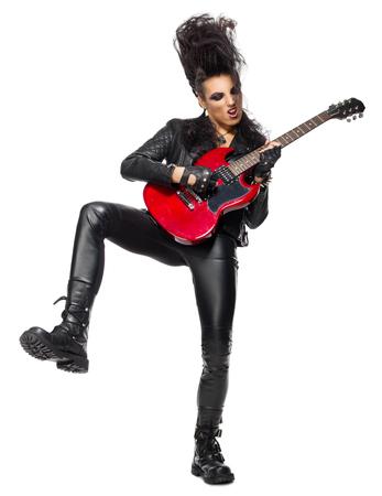 musico: Mujer músico de rock aislado en blanco Foto de archivo