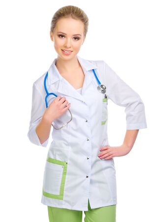 medical personnel: Young doctor isolated on white Stock Photo
