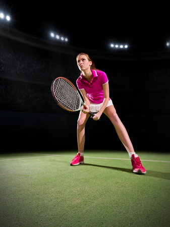 20 29 years: Young woman tennis player on court