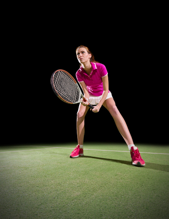 20 29 years: Young woman tennis player isolated Stock Photo