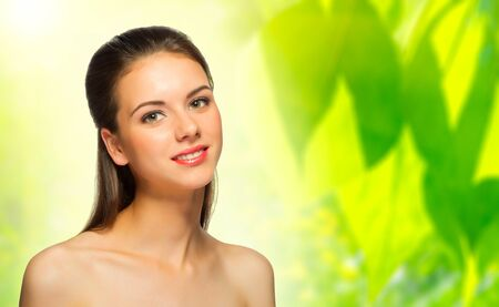 women body: Young healthy girl on spring floral background Stock Photo